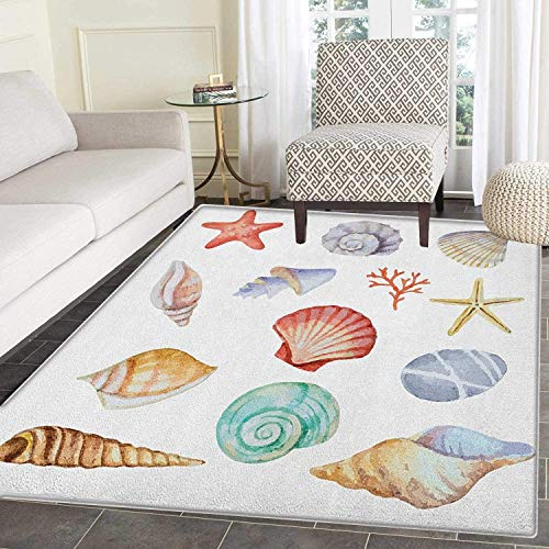 (Nautical Print Area Rug Collection of Different Type Seashells Scallop Mollusk Summer Exotic Creatures Animals Indoor/Outdoor Area Rug 5'x6' Multi)