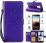 T-Mobile REVVL 5049W Case, Alcatel A30 Plus Walters Case, Alcatel A30 Fierce Case With Screen Protector,L00KLY [Kickstand] [Card Slot] [Wrist Strap] Slim Magnetic Flip Folio PU leather Wallet (Purple)