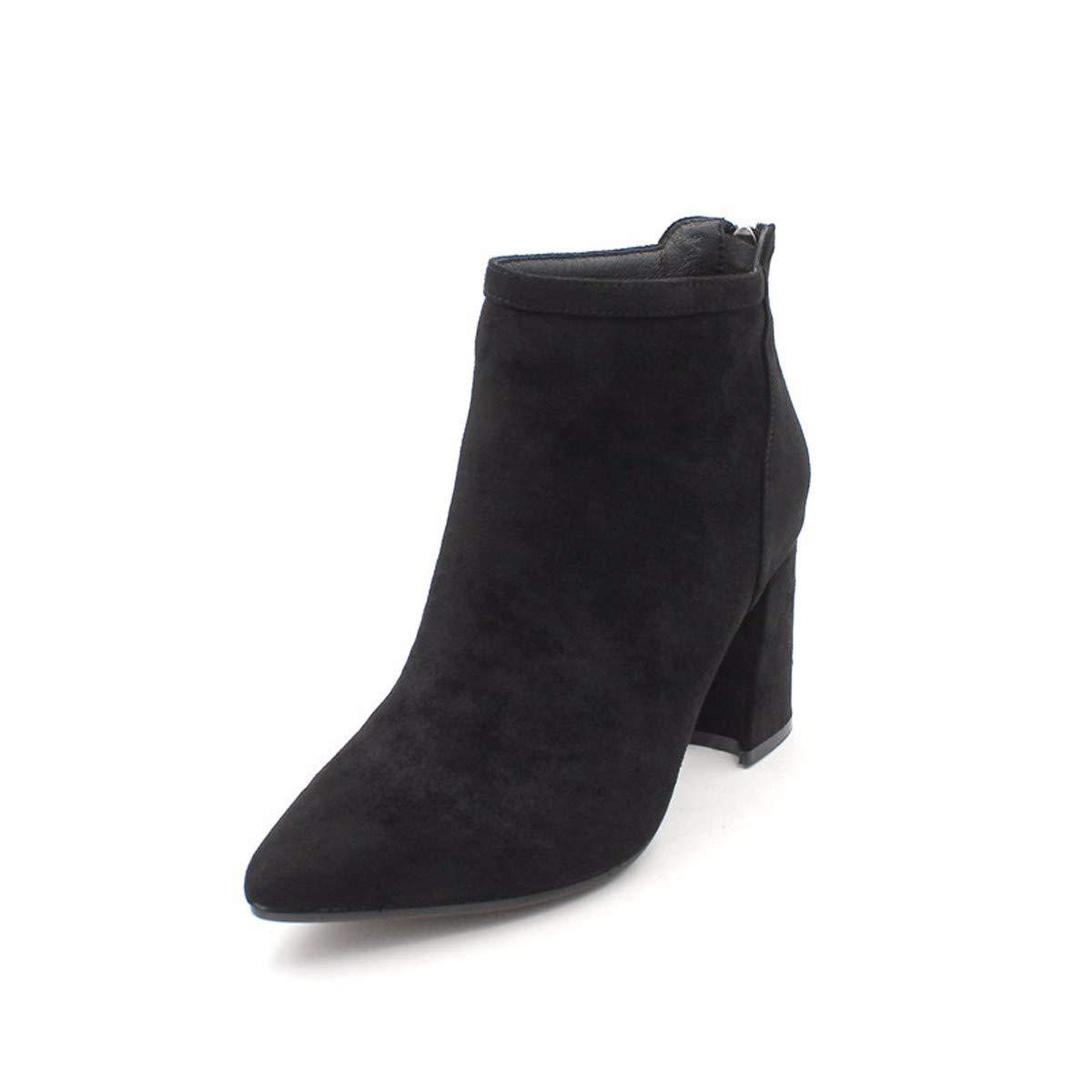 AJUNR Modische Arbeit Damenschuhe Mode Kurze Stiefel mit hohen 8cm Wildleder Spitze rau und wild