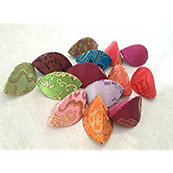 Fortune Cookie Style Box Assorted Brocade Fabric Jewelry Box Coin Purses(pack of 12)