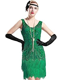 Womens Flapper Dresses 1920s V Neck Beaded Fringed Great Gatsby Dress