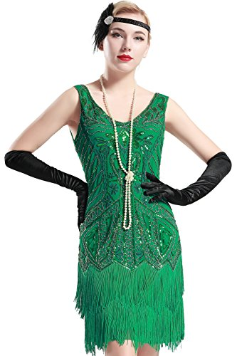 BABEYOND Women's Flapper Dresses 1920s V Neck Beaded Fringed Great Gatsby Dress (Large, Green) (Roaring 20s Dress)