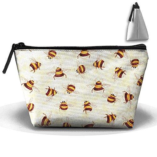 Trapezoidal Bag Makeup Bag Honey Bees Storage Portable Travel Wash Tote Zipper Wallet Handbag Carry Case -