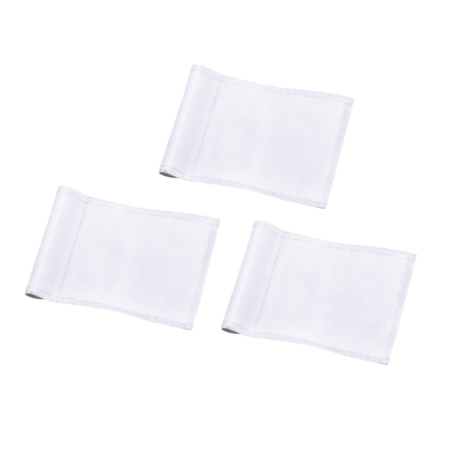 KINGTOP Solid Golf Flag with Plastic Insert, Putting Green Flags for Yard, Indoor/Outdoor, Garden Pin Flags, 420D Premium Nylon Flag, 8'' L x 6'' H, White, 3-Pack by KINGTOP