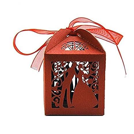 PIXNOR 25 Piezas Caja para Regalo con Novia Novio Caja para Bombones Caramelos (Rojo)