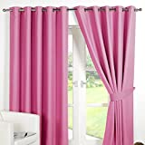 Dreamscene Luxury Ring Top Fully Lined Pair Thermal Blackout Eyelet Curtain Pink 66 x 90 by Dreamscene