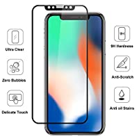 iPhone X Screen Protector(2 Pack), ALLEASA 3D Full Coverage Film HD Clear 9H Surface Hardness Tempered Glass Screen Protector (Anti-Scratch) For iPhone X/iPhone 10-Black by ALLEASA