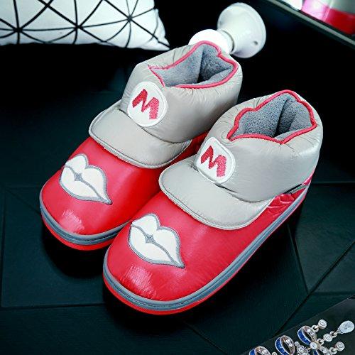 DogHaccd pantofole,Cartoon delizioso Pacchetto alta con cotone pantofole inverno impermeabile antiscivolo di uomini e donne le coppie soggiorno indoor scarpe caldo,Il rosso39-40