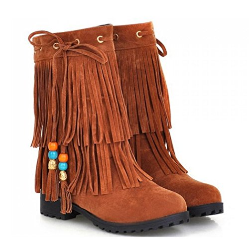 Students Flat Scrub yellow CYGG New Invisible Ladies Boots Higher Shoes Boots Fringed Short axgqvxwCF8