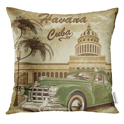 Golee Throw Pillow Cover Havana Cuba Retro 1950S 1960S Decorative Pillow Case Home Decor Square 18x18 Inches Pillowcase -