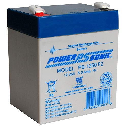 Powersonic PS-1250F2-12 Volt/5 Amp Hour Sealed Lead Acid Battery with 0.250 Fast-on Connector ()