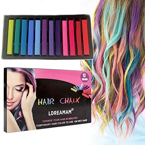 Hair Chalk, 12 Colors Hair Chalk Pens,Chalk Hair Dye,Colored Hair Chalks for Party, Cosplay, Theater, Halloween Makeup (Children Hair Color)