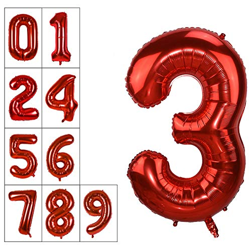40 Inch Jumbo Red Number 3 Balloon Giant Balloons Prom Balloons Helium Foil Mylar Huge Number Balloons 0 to 9 for Birthday Party Decorations/Wedding/Anniversary