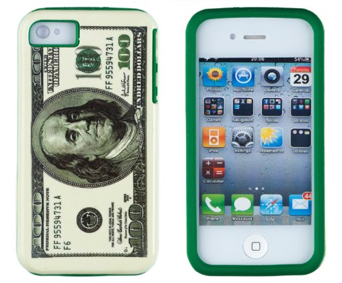 DandyCase 2in1 Hybrid High Impact Hard Hundred Dollar Bill Pattern + Green Silicone Case Cover For Apple iPhone (100 Dollar Iphone 4s)