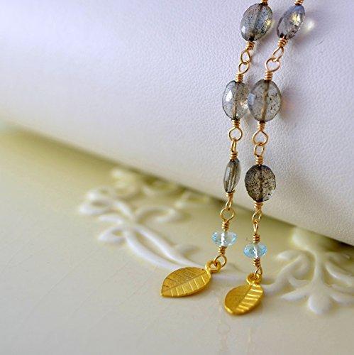 Long Labradorite Earrings with Blue Topaz in Gold or (Blue Topaz Labradorite Earrings)