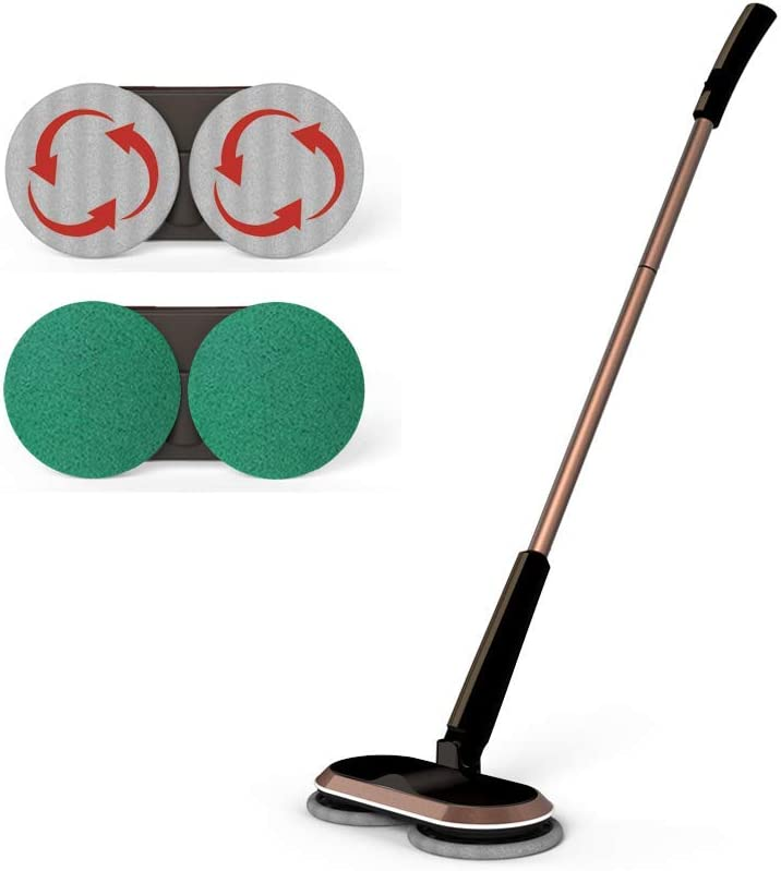 GOBOT Cordless Electric Mop, Scrubber Powerful Cleaner Handheld 180° Automatic Rotary +2 Extra Accessories, Polisher for Hard Wood, Tile, Vinyl, Marble and Laminate Floor(Brown)