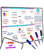 """SmartyPlans Dry Erase Weekly Extra Thick Magnetic Calendar for Refrigerator: 17x13"""" Two Week Planner and 6x9"""" White Board, 4 Fine Tip Markers and Eraser with Magnets. Stain Resistant. Shipped Flat."""