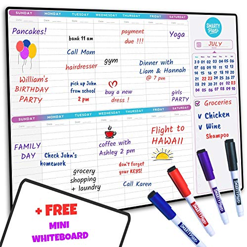 SmartyPlans Dry Erase Weekly Extra Thick Magnetic Calendar for Refrigerator: 17x13