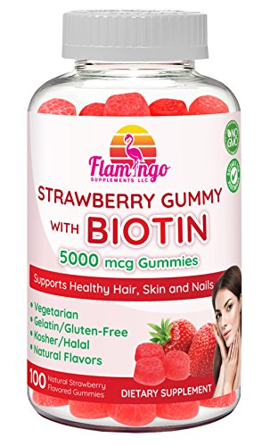 Flamingo Supplements - Biotin Gummies 5000 mcg for Women & Men with Non GMO Gluten Free Natural Strawberry Flavor| Vegetarian