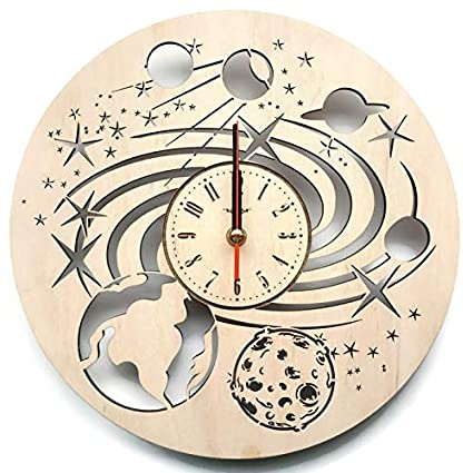 dc2fc53285e86 Galaxy Cosmos Solar System Wood Wall Clock - Original Home Decor for Kids  Room Bedroom Kitchen