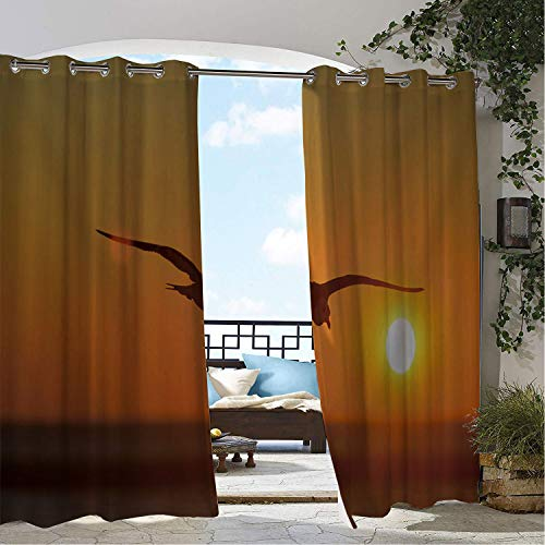 (Linhomedecor Gazebo Waterproof Curtains Eagle Sunset Glow Animal Multicolor doorways Grommet Printed Curtain 96 by 72 inch)