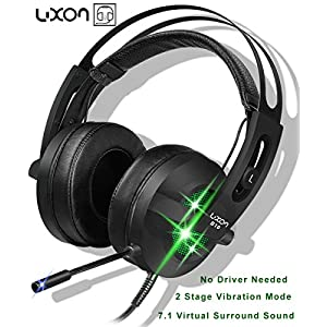 USB Gaming Over-Ear Headphones 7.1 Virtual Surround Sound Stereo Vibration PC Gaming Headset with Microphone Noise Isolating & Colorful Breathing LED Light for PC/ MAC/ Laptop
