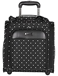 "Kenneth Cole Reaction Dot Matrix 14"" 600d Polka Dot Polyester 2-Wheel Underseater Carry-on, Black"