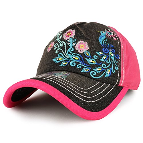 Peacock Embroidered Stitch Multi Color Baseball Cap - Hot Pink Black Denim (Peacock Embroidered Jean)
