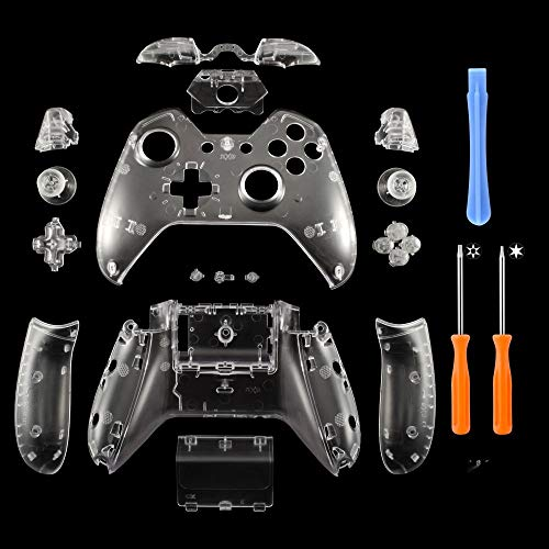 YICHUMY Replacement Controller Housing Shell Full Set Faceplates Buttons for Microsoft Xbox One Controller with 3.5 mm Headset Jack xbox one controller shell kit with 3.5 port (Clear) (Xbox One Controller Full Shell)