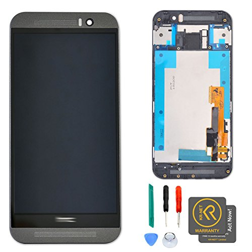 KR-NET LCD Touch Screen Display Digitizer Assembly with Gray Frame for HTC One M9 + Tools ()