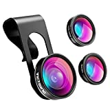VicTsing 3 in 1 Fisheye Camera Lens, Macro Lens+0.65X Wide Angle Lens(Connected Together), Clip on Cell Phone Lens Kits Compatible with iPhone 8, 7, 6s, Most Android and Smart Phones