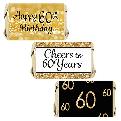 DISTINCTIVS 60th Birthday Party Miniatures Candy Bar Wrapper Stickers - Gold and Black | 45 Count -