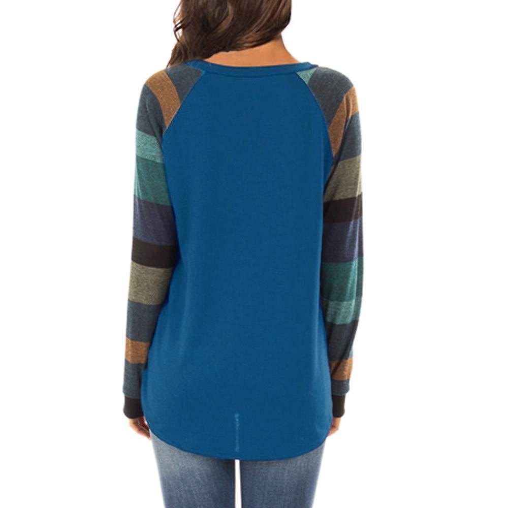 Women Casual Patchwork Top Long Sleeve Stripe Printed T Shirt Pullover Sweatshirt Basic Blouse