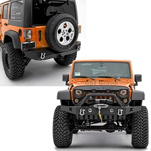 GSI Rock Crawler Front Bumper with Skid Plate, OE Fog Lights Hole and Winch Plate+Rear Bumper with 2