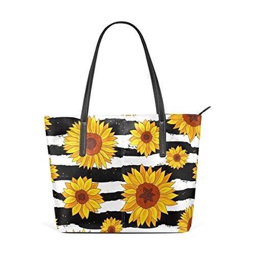 WellLee Beach Travel Totes Golden Sunflowers on Black White Striped PU Leather Shoulder Handbag