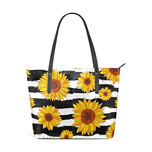 WellLee Beach Travel Totes Golden Sunflowers on Black White Striped PU Leather Shoulder Handbag Review