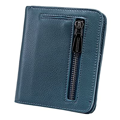 Itslife Women's Rfid Blocking Small Compact Bifold Nature Leather Pocket Wallet Ladies Mini Purse with id Window