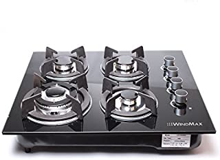 WINDMAX 24' Black Electric Tempered Glass Built-in Kitchen 4 Burner Gas Hob Cooktop