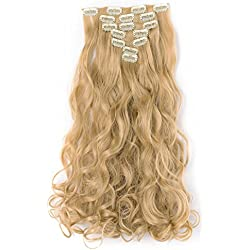 """OneDor 20"""" Curly Full Head Clip in Synthetic Hair Extensions 7pcs 140g (25#-light Golden Blonde)"""