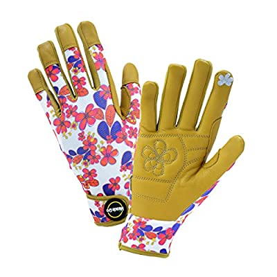 Miracle-Gro Women's Hi-Dex Goatskin Leather with Floral Hook and Loop Wrist, Touchscreen Technology, 1 Pair
