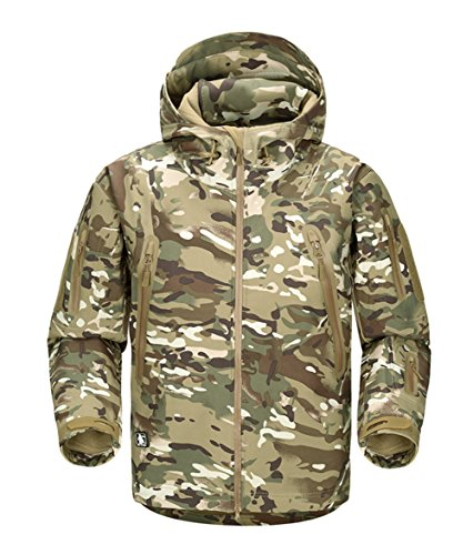 FREE SOLDIER Men Outdoor Tactical Softshell Jacket Waterproof Army Military Hooded jacket (CP camouflage XL)