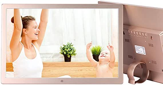 Digital Photo Frame,21 Inch Silver Digital Photo Frame LCD Screen 1920 * 1080,MP3/MP4 Video Player Electronic Picture Album,Gold