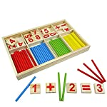LAAT Teaching Tool Math Number Wood Game Baby Toy Stick Number Mathematical Construction Sticks Colourful for Children