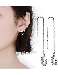 Tassel Earrings Silver Wave Cuff Earrings Wrap for Women Threader Earrings