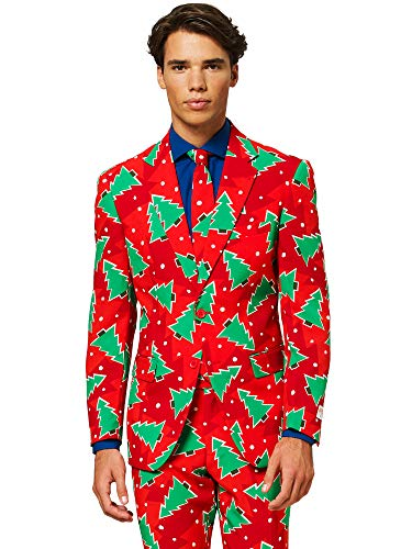 - OppoSuits Christmas Suits for Men in Different Prints – Ugly Xmas Sweater Costumes Include Jacket Pants & Tie