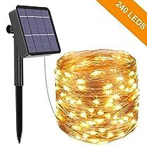 Guirnalda Luces Exterior Solar, Kolpop Cadena de Luces 26 Metros 240 LED, 8 Modos de Luz, Decoración para Navidad, Fiestas,