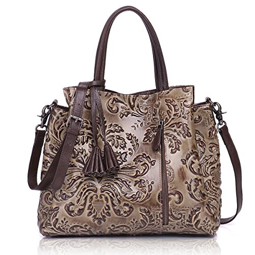 APHISON Designer Unique Embossed Floral Cowhide Leather Tote Style Ladies Top Handle Bags Handbags (Dark Gray)