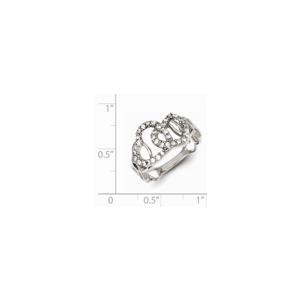 2mm Solid 925 Sterling Silver Cubic Zirconia CZ Love Heart Fashion or Engagement Ring