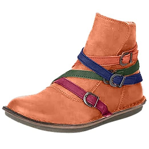 4ebbab120e98f Amazon.com: Kenvina Boots for Women Round Toe Ankle Boots Cross Belt ...