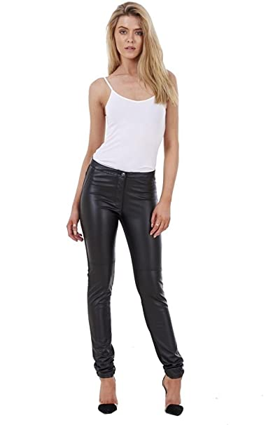 9a6c3ca209eac7 Ladies Fashion PU Jeans Skinny Pants Jeggings Leather Look Stretch Jeggings:  Amazon.co.uk: Clothing